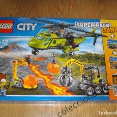 Juegos construcción - Lego: LEGO CITY VOLCANO SUPER PACK 3 EN 1 REF. 66540 (60121, 60122, 60123) NUEVO EN CAJA Y PRECINTADO. Lote 74422031