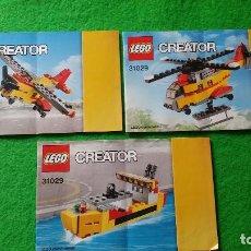 Juegos construcción - Lego: 3 MANUALES DE INSTRUCCIONES DE LEGO 31029 CREATOR. Lote 76174259