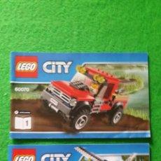 Juegos construcción - Lego: 2 MANUALES DE INSTRUCCIONES DE LEGO 60070 CITY. Lote 76175875
