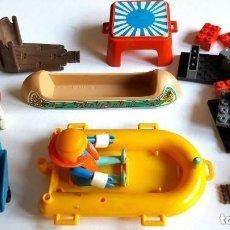 Juegos construcción - Lego: LEGO LOTE FICHAS, BARCA, CARRETILLA, TRONOS Y MAS... GEOBRA 1974 PLAYMOVIL . Lote 86707988