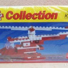 Juegos construcción - Lego: HELICÓPTERO DE POLICÍA JUEGO BLOQUES TIPO LEGO TENTE MARCA KLIP NUEVO. Lote 106848863