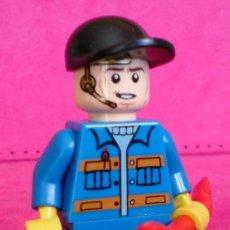 Juegos construcción - Lego: FIGURA MINIFIG LEGO OBRERO AZUL DOBLE CARA. Lote 113256211