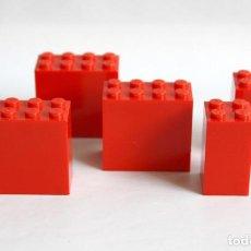 Juegos construcción - Lego: 3 X LEGO BLOQUE ROJO 2 X 4 X 3 (30144) + 2 X LEGO PILAR ROJO 2 X 2 X 3 (30145). BASIC.. Lote 127521659