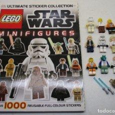 Juegos construcción - Lego: LEGO STAR WARS LOTE DE FIGURAS + LIBRO ADHESIVOS. Lote 129747343