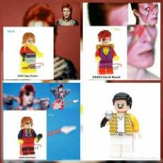Juegos construcción - Lego: DAVID BOWIE 3 MINIFIGURAS DISTINTAS Y FREDDIE MERCURY LEGO COMPATIBLE. Lote 156302072