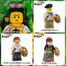 Juegos construcción - Lego: VAN GOGH PABLO PICASSO Y FRIDA KAHLO LEGO COMPATIBLE.LOTE DE 3.. Lote 147737978