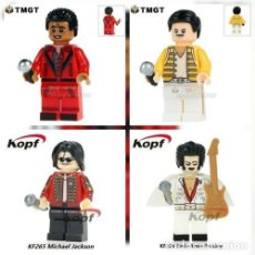 Juegos construcción - Lego: MUSIC LOTE MICHAEL JACKSON+ELVIS DOBLE CARA+MERCURY MINIFIGURAS COMPATIBLES. Lote 195162637