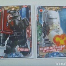 Juegos construcción - Lego: LOTE DE 2 TRADING CARD DE STAR WARS - LEGO . LA GUERRA DE LAS GALAXIAS. Lote 148584218