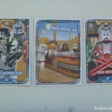 Juegos construcción - Lego: LOTE DE 3 TRADING CARD DE STAR WARS - LEGO . LA GUERRA DE LAS GALAXIAS. Lote 148604554