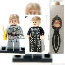 Juegos construcción - Lego: LANNISTER LOTE 2 MINIFIGURAS CERSEY Y JAIME COMPATIBLES CON LEGO Y MARCAPAGINAS METÁLICOS. Lote 162285370