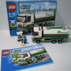 Juegos construcción - Lego: LEGO CITY 60016, CAMIÓN CISTERNA Y SURTIDOR GASOLINERA. Lote 175260810