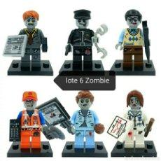 Juegos construcción - Lego: THE WALKING DEAD LOTE DE 6 MINIFIGURAS COMPATIBLE + PARCHE UMBRELLA. Lote 195162073