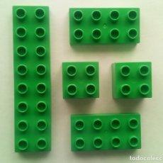 Juegos construcción - Lego: LEGO DUPLO - BLOQUES DE CONSTRUCCIÓN COLOR VERDE - LOTE PIEZAS SURTIDAS. Lote 179315555
