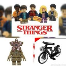 Juegos construcción - Lego: STRANGER THINGS LOTE DE 6 MINIFIGURAS PERSONALIZADAS COMPATIBLES LEGO + BICICLETA CITY+DEMORGORGON. Lote 176372408