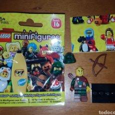 Juegos construcción - Lego: MINIFIGURA LEGO SERIE 16 ARQUERO BOSQUE NUEVO CON SOBRE Y CATÁLOGO MUÑECO SORPRESA COLECCIÓN. Lote 194359838