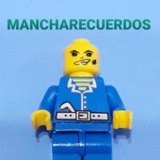 Juegos construcción - Lego: FIGURA LEGO O SIMILAR VAQUERO LADRON AZUL SIN PELO PELUCA PIEZA REPUESTO. Lote 196235057