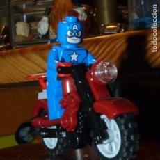 Juegos construcción - Lego: GENIAL MINI FIGURA LEGO CAPITAN AMERICA MOTO ORIGINAL 2014 COLECCION MARVEL SUPERHEROE HIDRA. Lote 197355250