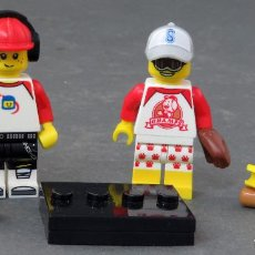 Juegos construcción - Lego: 3 MINI FIGURAS LEGO MUSIC STREET BEISBOL UNA INCOMPLETA. Lote 198202931