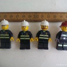 Juegos construcción - Lego: 4 FIGURAS DE BOMBEROS O SIMILAR, DE LEGO. Lote 198986636