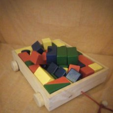 Juegos construcción - Lego: CARRO DE MADERA DE ARRASTRE CON JUEGO TIPO PUZZLE DE CONSTRUCCIÓN,EDUCATIVO PARA ESTIMULAR AL NIÑO. Lote 206364288