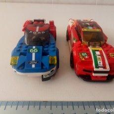 Jogos construção - Lego: LOTE DE 2 COCHES LEGO DE CARRERAS FORD Y FERRARI FALTAN PEQUEÑAS PIEZAS. Lote 221515645