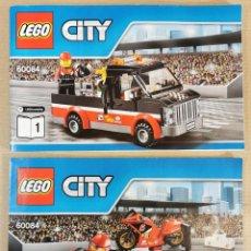Juegos construcción - Lego: LEGO CITY 60084 RACING BIKE TRANSPORTER MOTO COMO NUEVO.. Lote 233920505