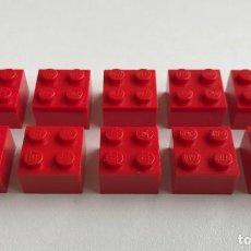 Juegos construcción - Lego: 10 PIEZAS LEGO LADRILLO ROJO 2X2 (3003). BASIC, CITY, TOWN, CASTLE, KNIGHTS, SYSTEM.... Lote 289837638