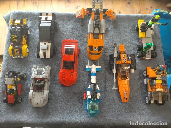 GRAN PACK DE 10 COCHES Y VEHICULOS DE LEGO , DE CARRERAS, HELICOPTERO, AVION Y 12 CONDUCTORES (Juguetes - Construcción - Lego)