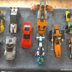 Juegos construcción - Lego: GRAN PACK DE 10 COCHES Y VEHICULOS DE LEGO , DE CARRERAS, HELICOPTERO, AVION Y 12 CONDUCTORES. Lote 254639635