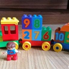 Juegos construcción - Lego: TREN LEGO DUPLO MÁQUINA MAQUINISTA Y VAGONES. BLOQUES CON NÚMEROS.. Lote 262035520