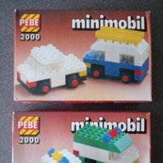 Juegos construcción - Lego: LOTE CAJAS PEBE 2000 MINIMOBIL TIPO LEGO. Lote 288341348