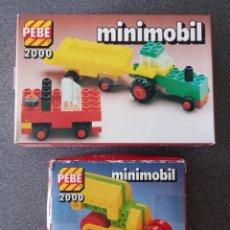 Juegos construcción - Lego: LOTE CAJAS PEBE 2000 MINIMOBIL TIPO LEGO. Lote 288341473