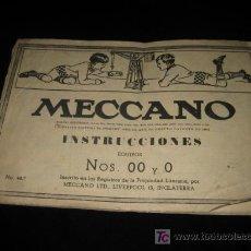 Juegos construcción - Meccano: ANTIGUO CATALOGO DE INSTRUCCIONES DE MECANO NOS.OO Y O. Lote 9553818
