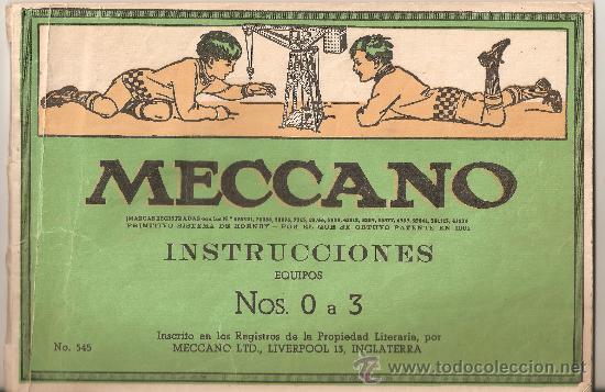 INSTRUCCIONES MECCANO EQUIPOS .,Nº 0 A 3.EN ESPAÑOL.Nº 545 (Juguetes - Construcción - Meccano)