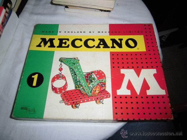 ANTIGUA CAJA MECANO MODELO 1 CON LIBRETO DE INSTRUCCIONES EN ESPAÑOL INGLES PORTUGUES..LEER DESCRIPC (Juguetes - Construcción - Meccano)
