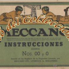 Juegos construcción - Meccano: MECCANO, LIBRO DE INSTRUCCIONES PARA EQUIPOS NS. 00 Y 0 , NUMERO 37.11. Lote 53466412