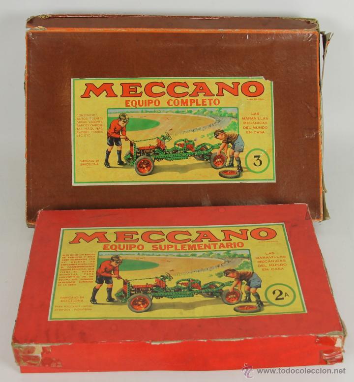 MECCANO. EQUIPO SUPLEMENTARIO 2A Y EQUIPO COMPLETO 3. CIRCA 1950. (Juguetes - Construcción - Meccano)