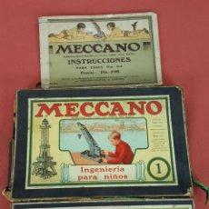 Juegos construcción - Meccano: JUEGO DE CONSTRUCCION MECCANO. NUMERO 1 Y CAJA ACCESORIA 1A. INCLUYE INSTRUCCIONES. AÑOS 50.. Lote 71458387