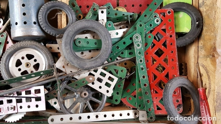 Juegos construcción - Meccano: LOTE DE PIEZAS DE MECCANO. CAJITA ORIGINAL. VER DESCRIPCION. SIGLO XX. - Foto 8 - 79300097