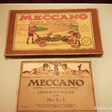 Juegos construcción - Meccano: CAJA MECCANO EQUIPO 0A CON SU CAJA PARA PIEZAS PEQUEÑAS Y MANUAL AÑO 1945. Lote 80233157