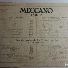 Juegos construcción - Meccano: MECCANO TARIFAS AÑOS 30 LIBRERIA DARNE-BARCELONA. Lote 85530856