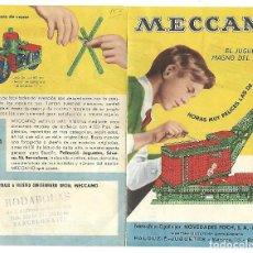 Juegos construcción - Meccano: MINI CATALOGO TRIPTICO MECANO, MODELOS Y PRECIOS.. Lote 99240091