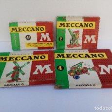 Juegos construcción - Meccano: LOTE DE CUATRO ANTIGUAS CAJAS DE MECCANO Y CATALOGOS. Lote 234671855