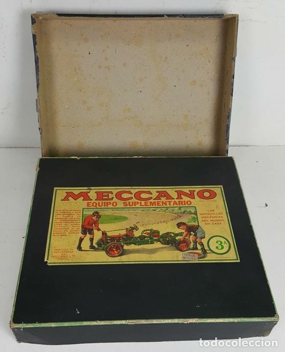 Juegos construcción - Meccano: MECCANO. CAJA CON INFINIDAD DE PIEZAS. CAJA EQUIPO SUPLEMENTARIO 3A. CIRCA 1960. - Foto 4 - 119062735
