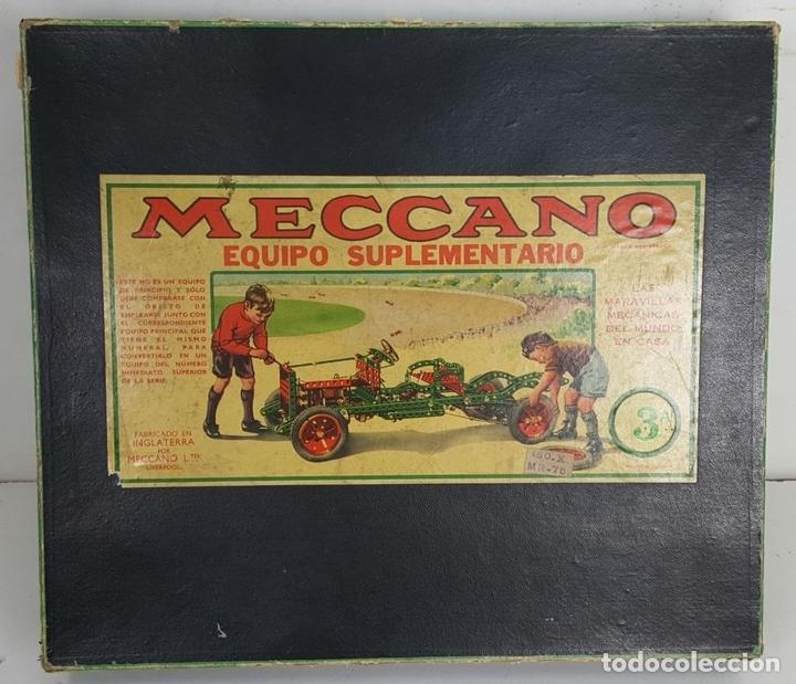 Juegos construcción - Meccano: MECCANO. CAJA CON INFINIDAD DE PIEZAS. CAJA EQUIPO SUPLEMENTARIO 3A. CIRCA 1960. - Foto 5 - 119062735