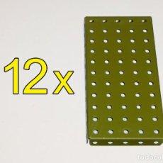 Jeux construction - Meccano: MECCANO PIEZA Nº52 - PLACA REBORDEADA 11X5 VERDE MILITAR (12UDS). Lote 120162215