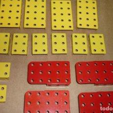 Juegos construcción - Meccano: MECCANO PARTE Nº 51A-E-F. LOTE 16 PIEZAS PLACAS DOBLADAS DIVERSAS... Lote 122128355