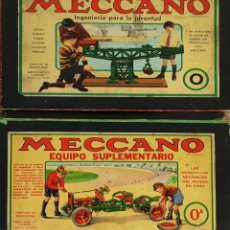 Juegos construcción - Meccano: JUEGO DE CONSTRUCCIÓN. MECCANO. NÚMEROS 0 Y 0A. INCOMPLETOS. SIGLO XX. . Lote 142380042