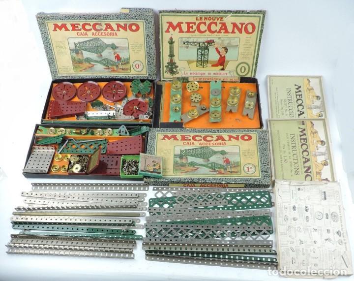 LOTE 3 MECCANO EN CAJA, CAJA 0, 0A Y 1A, TODO LO QUE SE VE EN LAS FOTOGRAFIAS PUESTAS, INTRUCCIONES, (Juguetes - Construcción - Meccano)