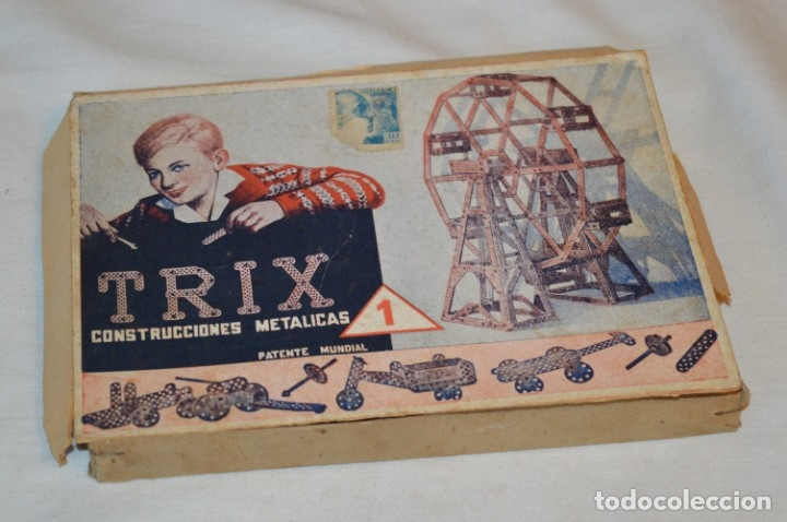 Juegos construcción - Meccano: Antiguo y difícil juego construcciones - TRIX Construcciones metálicas - Núm 1 - Años 50 ¡Una JOYA! - Foto 2 - 178653450